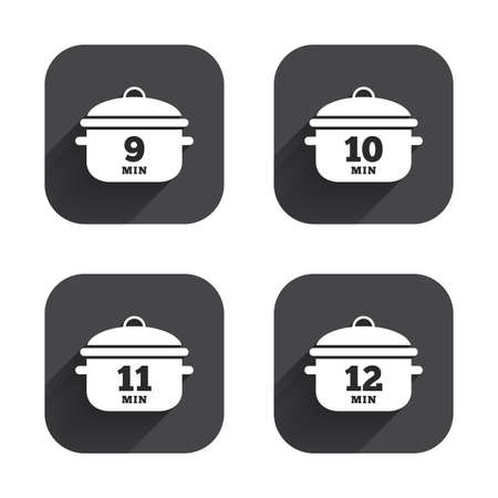 10 12: Cooking pan icons. Boil 9, 10, 11 and 12 minutes signs. Stew food symbol. Square flat buttons with long shadow.