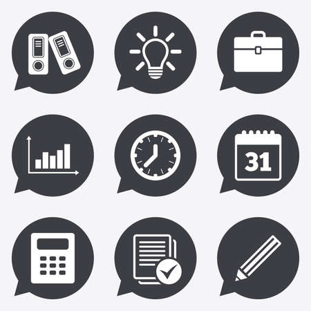 pencil case: Office, documents and business icons. Accounting, calculator and case signs. Ideas, calendar and statistics symbols. Flat icons in speech bubble pointers. Illustration