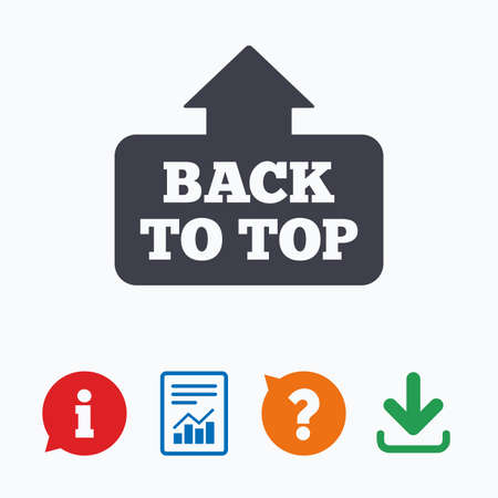 scroll up: Back to top arrow sign icon. Scroll up page symbol. Information think bubble, question mark, download and report. Illustration