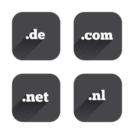 Top-level internet domain icons. De, Com, Net and Nl symbols. Unique national DNS names. Square flat buttons with long shadow. Vektoros illusztráció