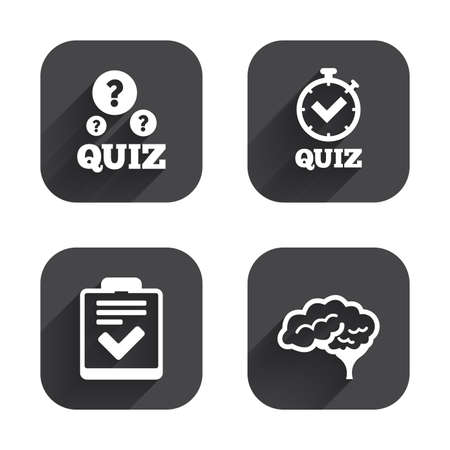 poll: Quiz icons. Human brain think. Checklist and stopwatch timer symbol. Survey poll or questionnaire feedback form sign. Square flat buttons with long shadow.