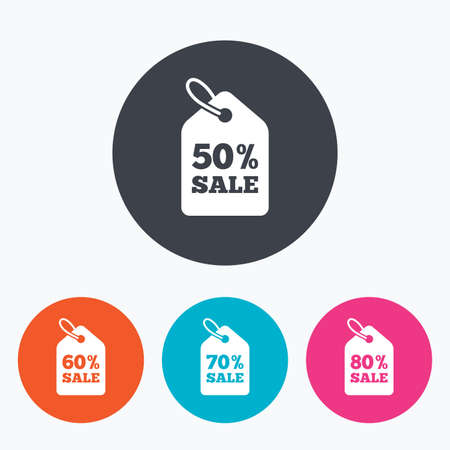 60 70: Sale price tag icons. Discount special offer symbols. 50%, 60%, 70% and 80% percent sale signs. Circle flat buttons with icon. Illustration