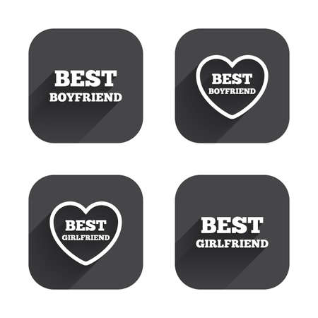 boyfriend: Best boyfriend and girlfriend icons. Heart love signs. Award symbol. Square flat buttons with long shadow.