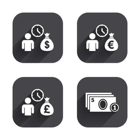 borrow: Bank loans icons. Cash money bag symbols. Borrow money sign. Get Dollar money fast. Square flat buttons with long shadow.