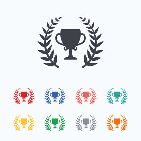winning first: First place cup award sign icon. Prize for winner symbol. Laurel Wreath. Colored flat icons on white background. Illustration