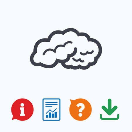 intelligent: Brain sign icon. Human intelligent smart mind. Information think bubble, question mark, download and report. Illustration