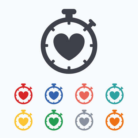 palpitation: Heart Timer sign icon. Stopwatch symbol. Heartbeat palpitation. Colored flat icons on white background.