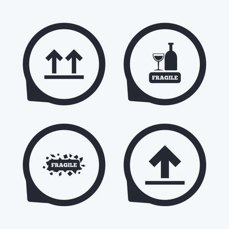 this side up: Fragile icons. Delicate package delivery signs. This side up arrows symbol. Flat icon pointers.