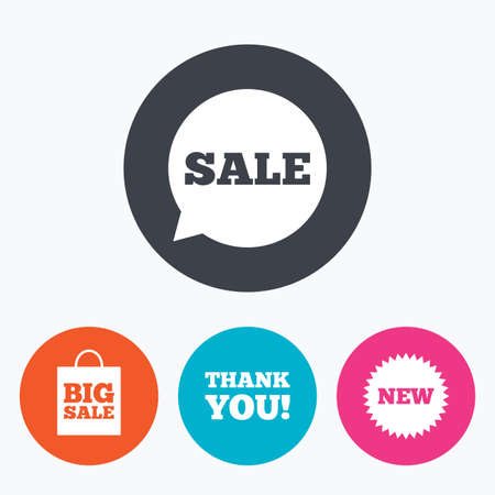 you are special: Sale speech bubble icon. Thank you symbol. New star circle sign. Big sale shopping bag. Circle flat buttons with icon.