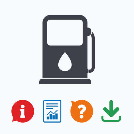 think tank: Petrol or Gas station sign icon. Car fuel symbol. Information think bubble, question mark, download and report.