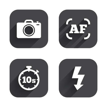 autofocus: Photo camera icon. Flash light and autofocus AF symbols. Stopwatch timer 10 seconds sign. Square flat buttons with long shadow.