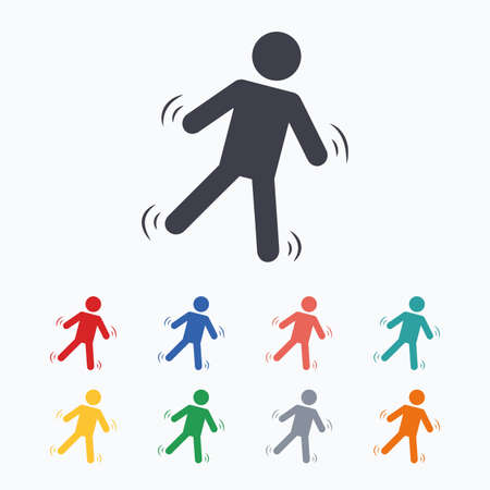 falling man: Man falls sign icon. Falling down human symbol. Caution slippery. Colored flat icons on white background.