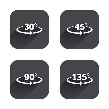 Angle 30-135 degrees icons. Geometry math signs symbols. Full complete rotation arrow. Square flat buttons with long shadow. Illusztráció