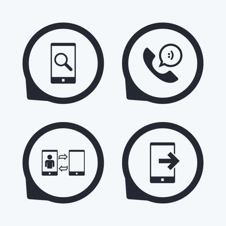 synchronization: Phone icons. Smartphone with speech bubble sign. Call center support symbol. Synchronization symbol. Flat icon pointers.