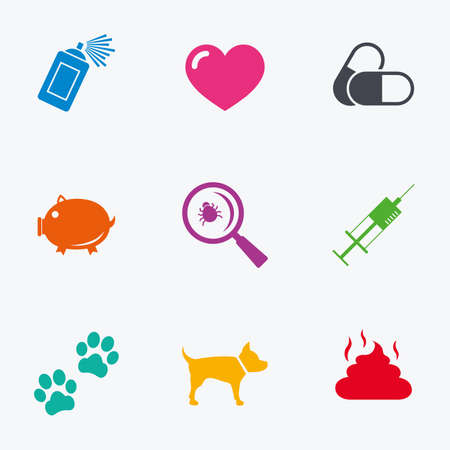 feces: Veterinary, pets icons. Dog paws, syringe and magnifier signs. Pills, heart and feces symbols. Flat colored graphic icons.