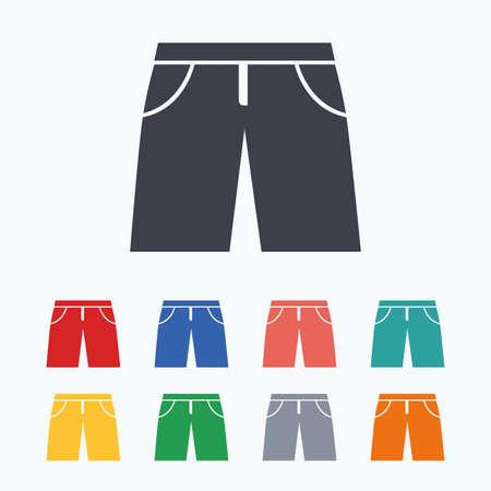 beachwear: Mens Bermuda shorts sign icon. Clothing symbol. Colored flat icons on white background. Illustration