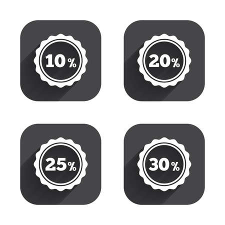 20 25: Sale discount icons. Special offer stamp price signs. 10, 20, 25 and 30 percent off reduction symbols. Square flat buttons with long shadow.