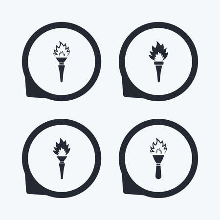 torch light: Torch flame icons. Fire flaming symbols. Hand tool which provides light or heat. Flat icon pointers.