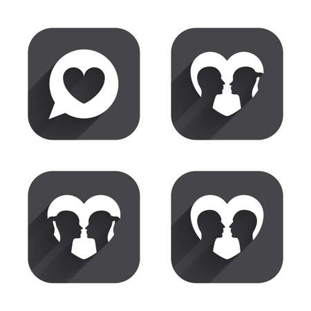 homosexual sex: Couple love icon. Lesbian and Gay lovers signs. Romantic homosexual relationships. Speech bubble with heart symbol. Square flat buttons with long shadow.