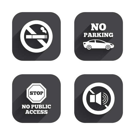 private access: Stop smoking and no sound signs. Private territory parking or public access. Cigarette symbol. Speaker volume. Square flat buttons with long shadow. Illustration
