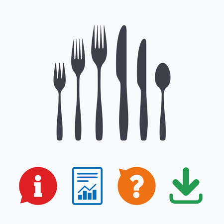 cuchillo: Postre tenedor, cuchillo, icono de la muestra cucharilla. colección de cubertería símbolo. Información pensar burbuja, signo de interrogación, la descarga y el informe.