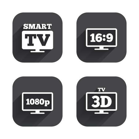 full hd: Smart TV mode icon. Aspect ratio 16:9 widescreen symbol. Full hd 1080p resolution. 3D Television sign. Square flat buttons with long shadow.