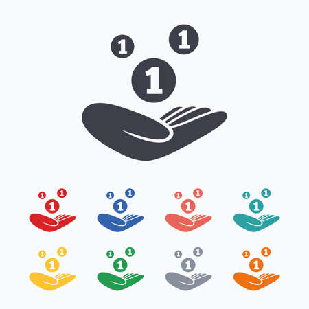 endowment: Donation hand sign icon. Hand holds coins. Charity or endowment symbol. Human helping hand palm. Colored flat icons on white background.