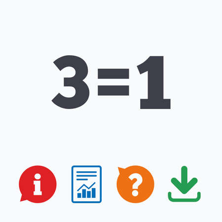 equals: Three for one sign icon. Take three pay for one sale button. 3 equals 1. Information think bubble, question mark, download and report. Illustration
