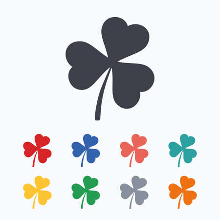 clover buttons: Clover with three leaves sign icon. Trifoliate clover. Saint Patrick trefoil symbol. Colored flat icons on white background. Illustration