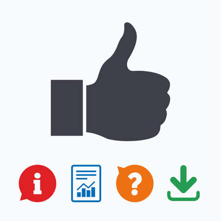 think up: Like sign icon. Thumb up sign. Hand finger up symbol. Information think bubble, question mark, download and report.
