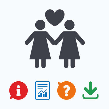 homosexual sex: Couple sign icon. Woman love woman. Lesbians with heart. Information think bubble, question mark, download and report.