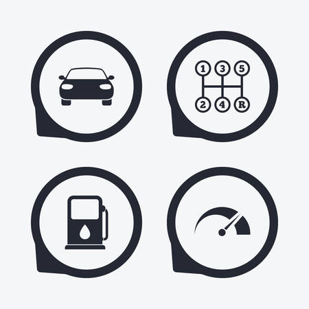 transport icons: Transport icons. Car tachometer and manual transmission symbols. Petrol or Gas station sign. Flat icon pointers.