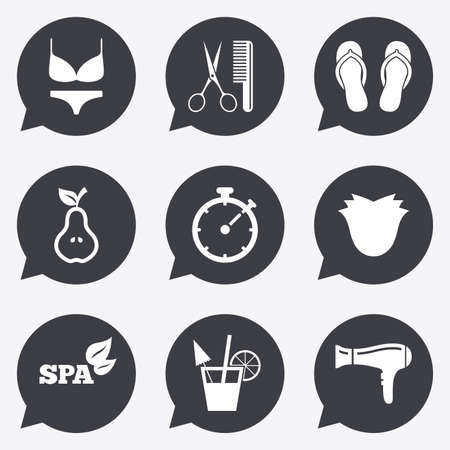 bra and panties: Hairdresser, spa icons. Diet cocktail sign. Lingerie, scissors and hairdryer symbols. Flat icons in speech bubble pointers.