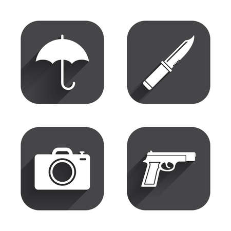 edged: Gun weapon icon.Knife, umbrella and photo camera signs. Edged hunting equipment. Prohibition objects. Square flat buttons with long shadow.