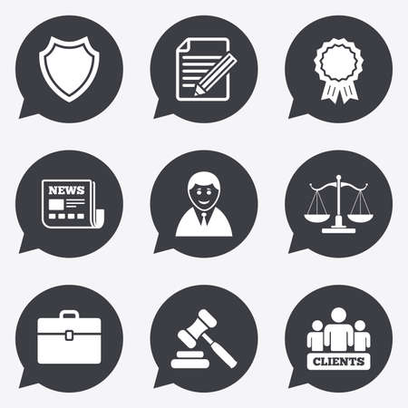 hammers: Lawyer, scales of justice icons. Clients, auction hammer and law judge symbols. Newspaper, award and agreement document signs. Flat icons in speech bubble pointers.