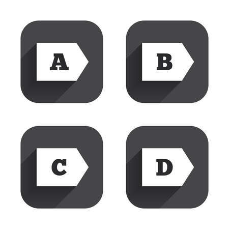 economy class: Energy efficiency class icons. Energy consumption sign symbols. Class A, B, C and D. Square flat buttons with long shadow. Illustration
