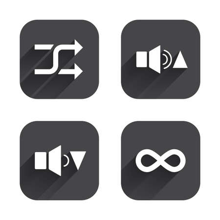 quieter: Player control icons. Sound louder and quieter signs. Dynamic symbol. Shuffle random and repeat loop. Square flat buttons with long shadow.