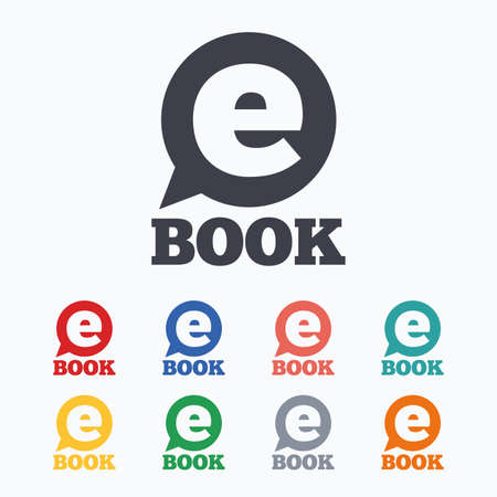 ebook reader: E-Book sign icon. Electronic book symbol. Ebook reader device. Colored flat icons on white background. Illustration