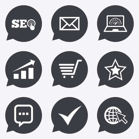 bandwidth: Internet, seo icons. Tick, online shopping and chart signs. Bandwidth, mobile device and chat symbols. Flat icons in speech bubble pointers.