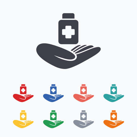 colored bottle: Medical insurance sign icon. Health insurance. Drugs or pills bottle. Colored flat icons on white background. Illustration