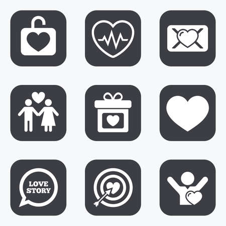 oath: Love, valentine day icons. Target with heart, oath letter and locker symbols. Couple lovers, heartbeat signs. Flat square buttons with rounded corners. Illustration