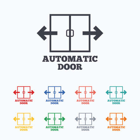 automatic doors: Automatic door sign icon. Auto open symbol. Colored flat icons on white background.
