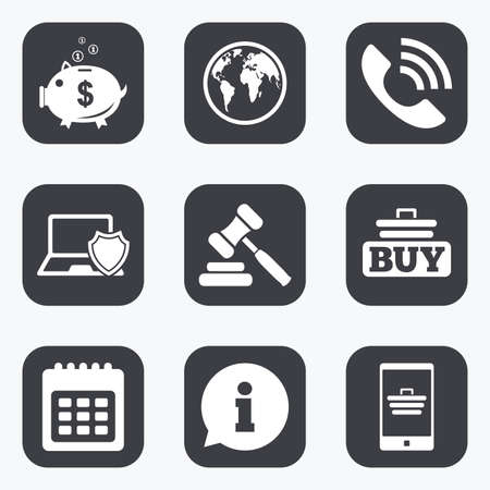 e auction: Online shopping, e-commerce and business icons. Auction, phone call and information signs. Piggy bank, calendar and smartphone symbols. Flat square buttons with rounded corners. Illustration