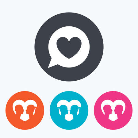 homosexual sex: Couple love icon. Lesbian and Gay lovers signs. Romantic homosexual relationships. Speech bubble with heart symbol. Circle flat buttons with icon.