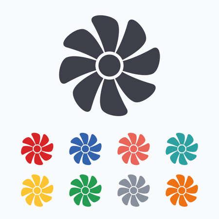 ventilator: Ventilation sign icon. Ventilator symbol. Colored flat icons on white background.