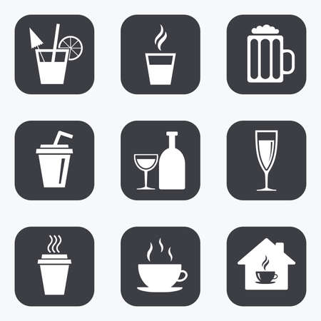 take away: Tea, coffee and beer icons. Beer, wine and cocktail signs. Take away drinks. Flat square buttons with rounded corners. Illustration