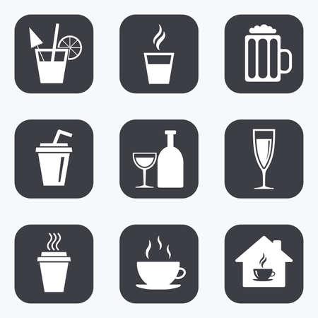 Thee, koffie en bier pictogrammen. Bier, wijn en cocktail borden. Take away drankjes. Flat vierkante knoppen met afgeronde hoeken.