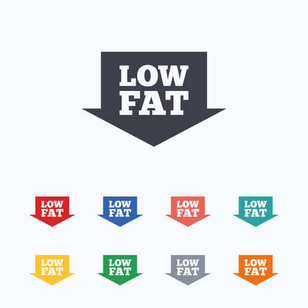 low fat: Low fat sign icon. Salt, sugar food symbol with arrow. Colored flat icons on white background. Illustration