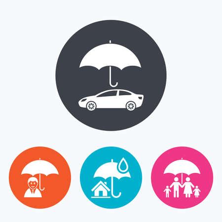 Famille, immobilier ou assurance habitation icônes. L'assurance-vie et les symboles de parapluie. Signe de protection du véhicule. Encerclez boutons plats avec l'icône.