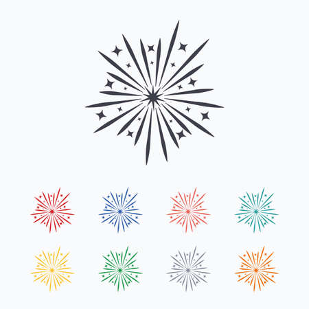 pyrotechnic: Fireworks sign icon. Explosive pyrotechnic show symbol. Colored flat icons on white background.
